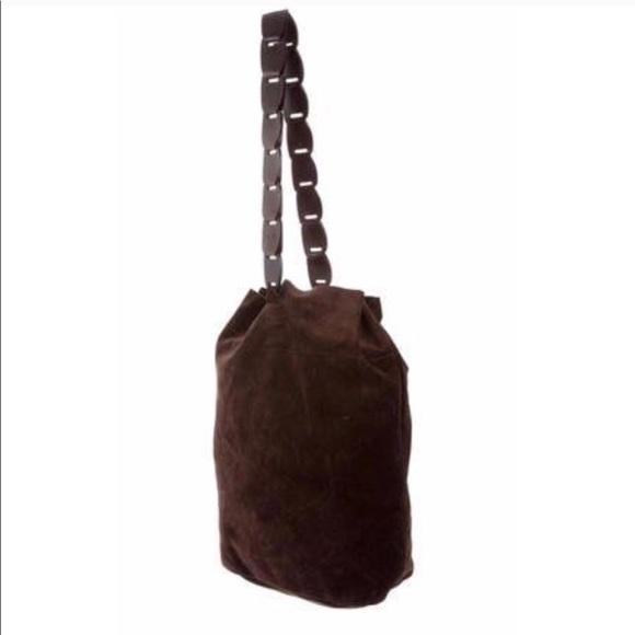66acc3e89a00 Gucci Vintage Brown Suede Drawstring Bucket Purse.  M 5bdc5d4af63eea0215d82fce